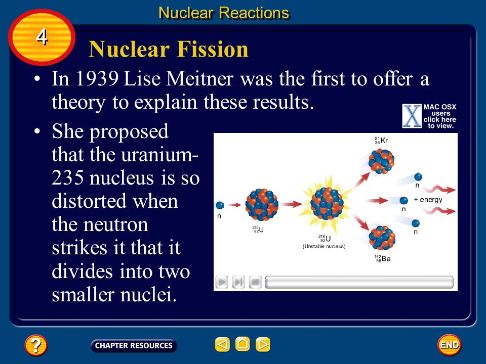 Nuclear Reactions 4. Nuclear Fission. In 1939 Lise Meitner was the first to offer a theory to explain these results.