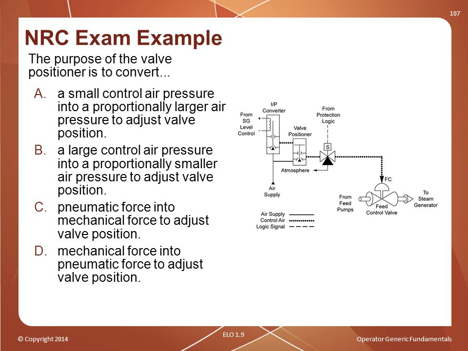 NRC Exam Example The purpose of the valve positioner is to convert...