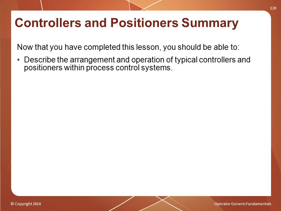Controllers and Positioners Summary