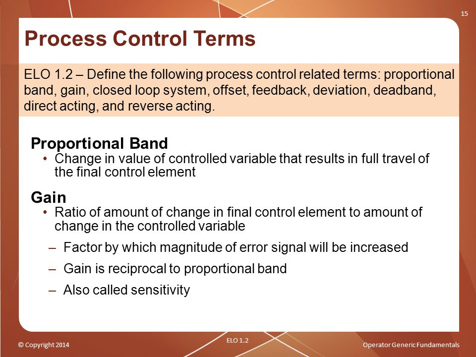 Process Control Terms Proportional Band Gain