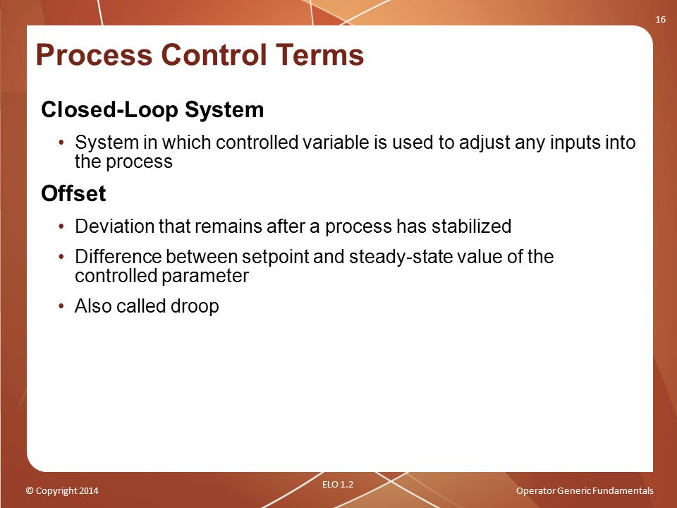 Process Control Terms Closed-Loop System Offset