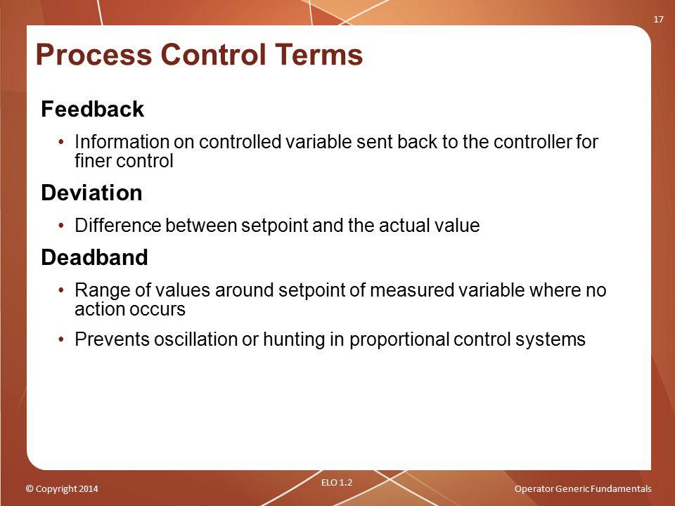 Process Control Terms Feedback Deviation Deadband