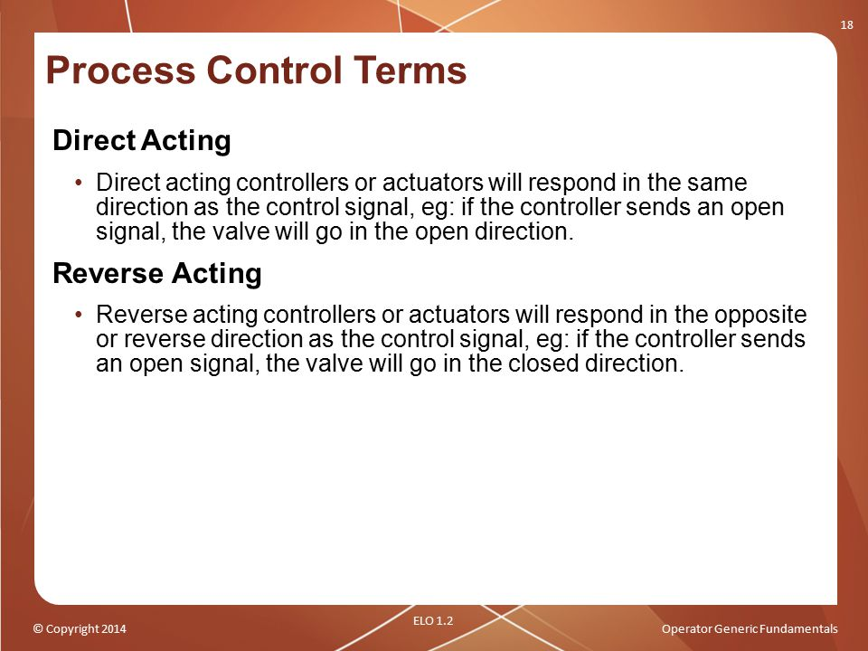 Process Control Terms Direct Acting Reverse Acting