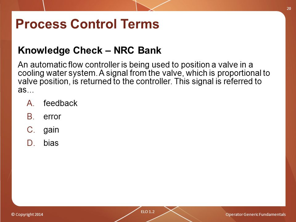 Process Control Terms Knowledge Check – NRC Bank