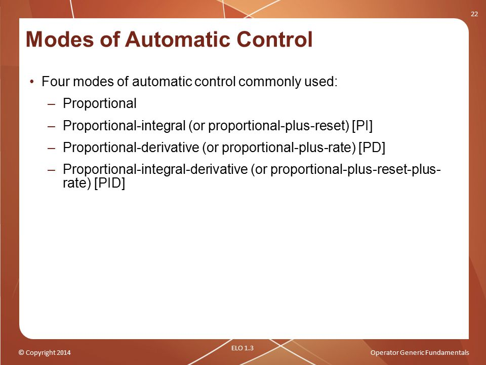 Modes of Automatic Control