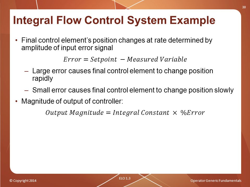 Integral Flow Control System Example