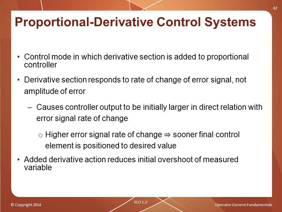 Proportional-Derivative Control Systems