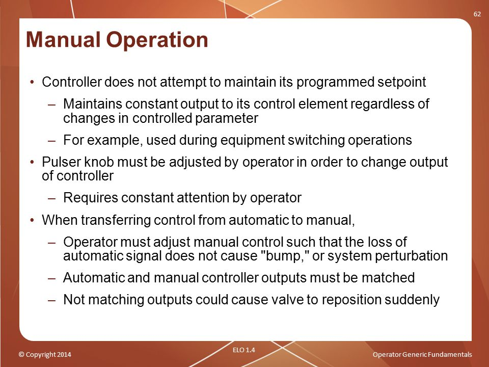 Manual Operation Controller does not attempt to maintain its programmed setpoint.
