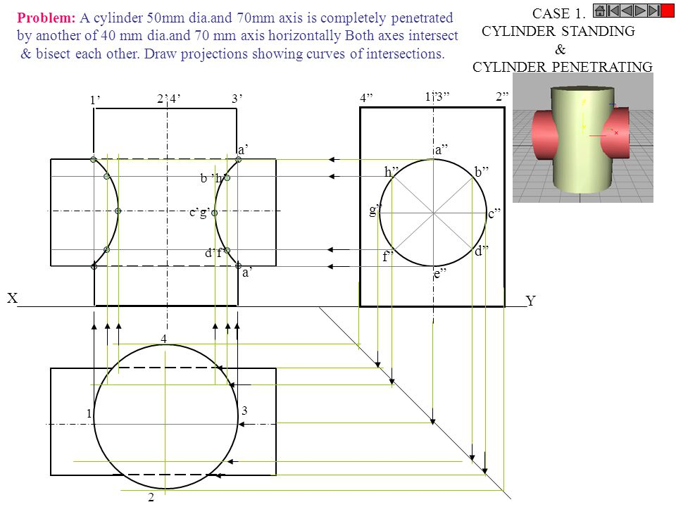 Problem: A cylinder 50mm dia.and 70mm axis is completely penetrated