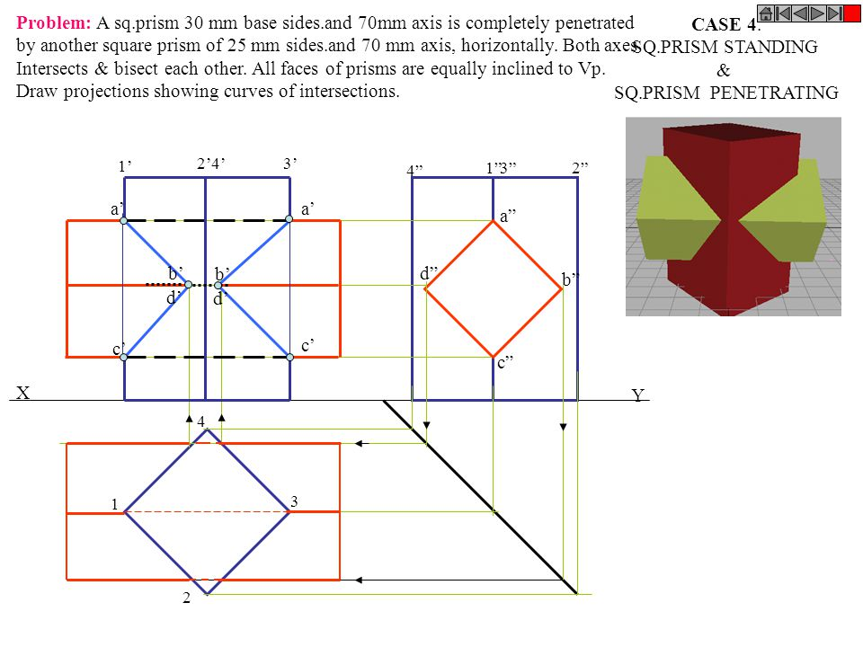 Draw projections showing curves of intersections. CASE 4.