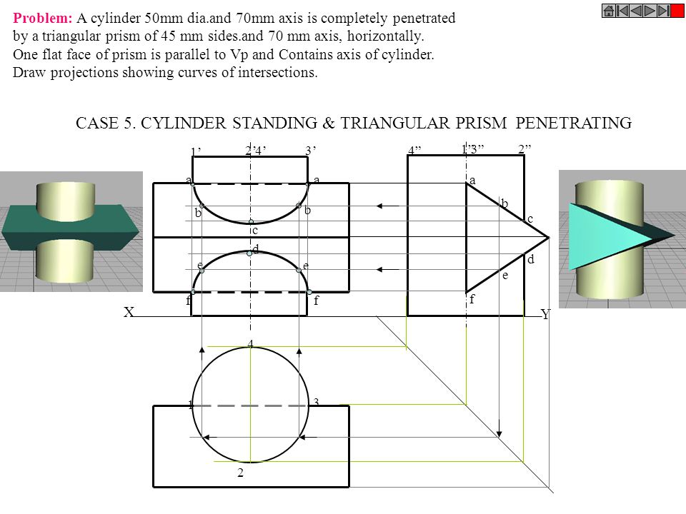 CASE 5. CYLINDER STANDING & TRIANGULAR PRISM PENETRATING