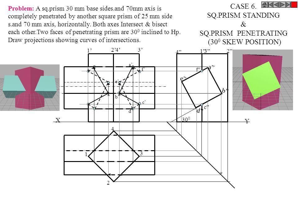 CASE 6. SQ.PRISM STANDING & SQ.PRISM PENETRATING (300 SKEW POSITION)