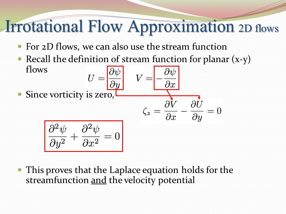 Irrotational Flow Approximation 2D flows