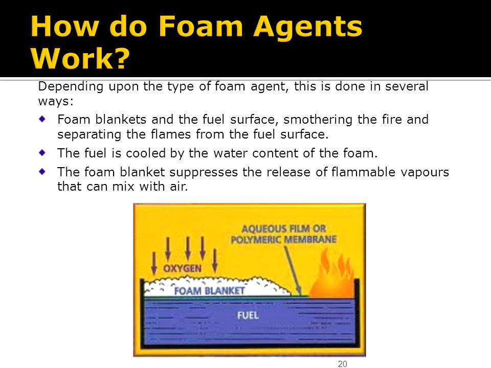 How do Foam Agents Work Depending upon the type of foam agent, this is done in several ways:
