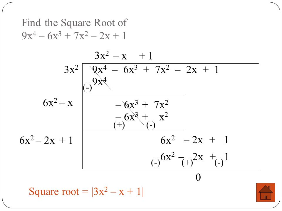 Find the Square Root of 9x4 – 6x3 + 7x2 – 2x + 1
