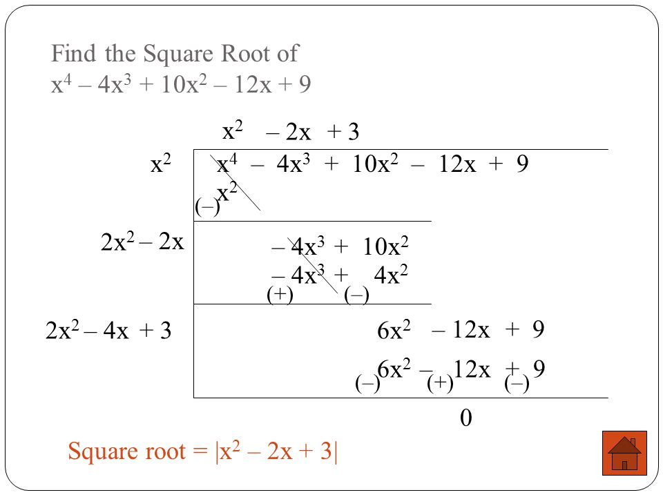 Find the Square Root of x4 – 4x3 + 10x2 – 12x + 9