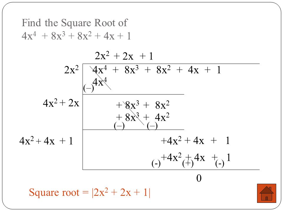 Find the Square Root of 4x4 + 8x3 + 8x2 + 4x + 1