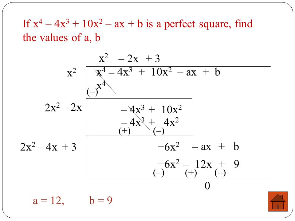 If x4 – 4x3 + 10x2 – ax + b is a perfect square, find the values of a, b