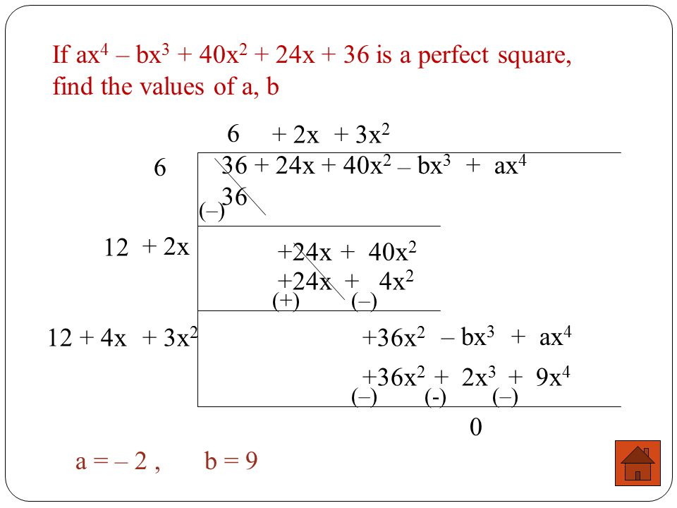 If ax4 – bx3 + 40x2 + 24x + 36 is a perfect square, find the values of a, b