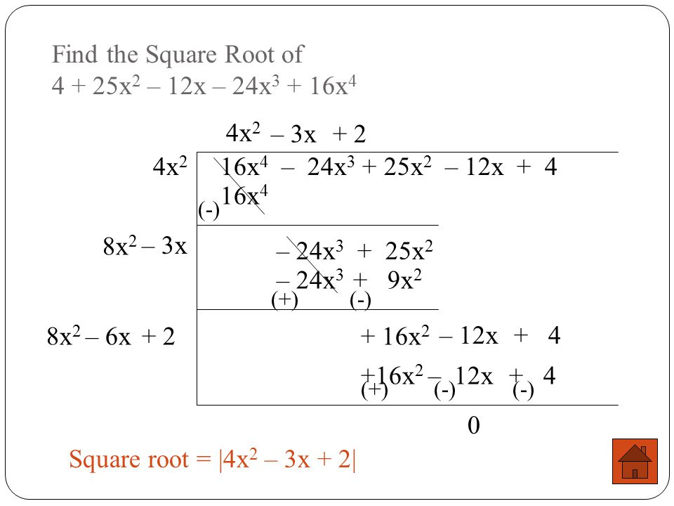 Find the Square Root of 4 + 25x2 – 12x – 24x3 + 16x4