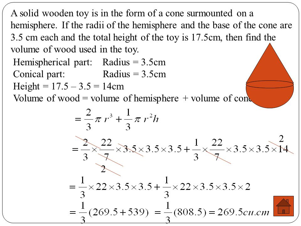 A solid wooden toy is in the form of a cone surmounted on a hemisphere