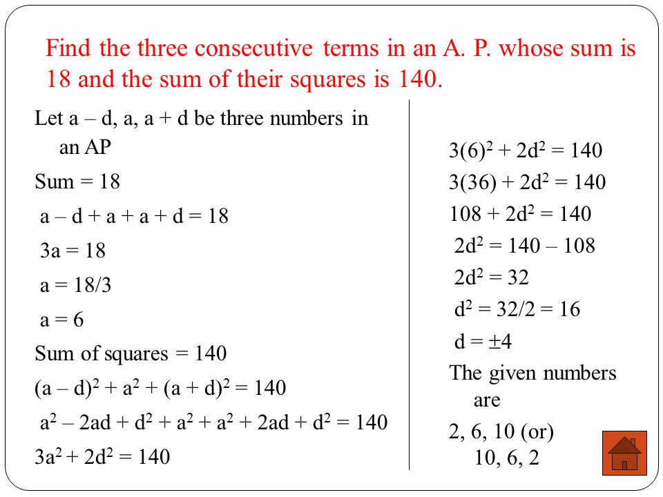 Find the three consecutive terms in an A. P