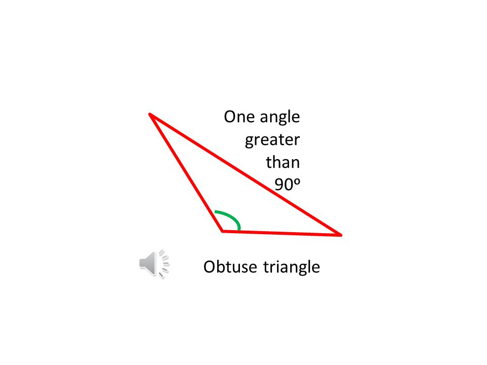 One angle greater than 90o Obtuse triangle