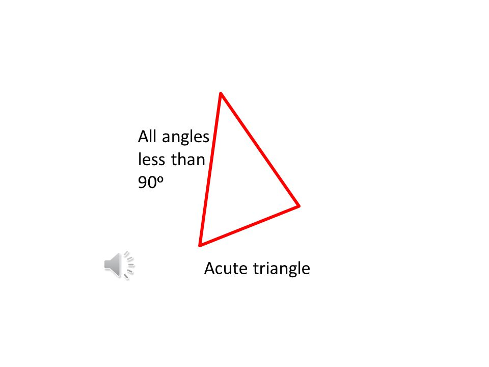 All angles less than 90o Acute triangle