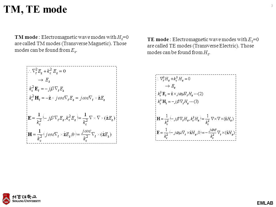 TM, TE mode TM mode : Electromagnetic wave modes with Hz=0 are called TM modes (Transverse Magnetic). Those modes can be found from Ez.