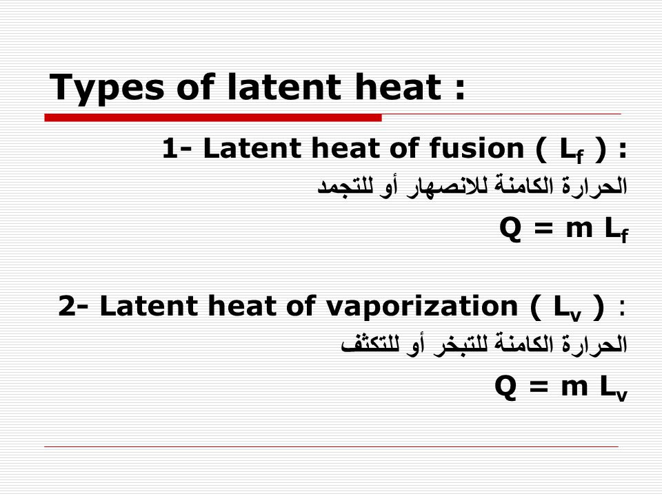 Types of latent heat : 1- Latent heat of fusion ( Lf ) :