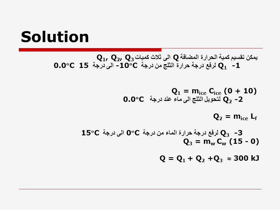 Solution Q1 -1 لرفع درجة حرارة الثلج من درجة -10C الى درجة 0.0C 15