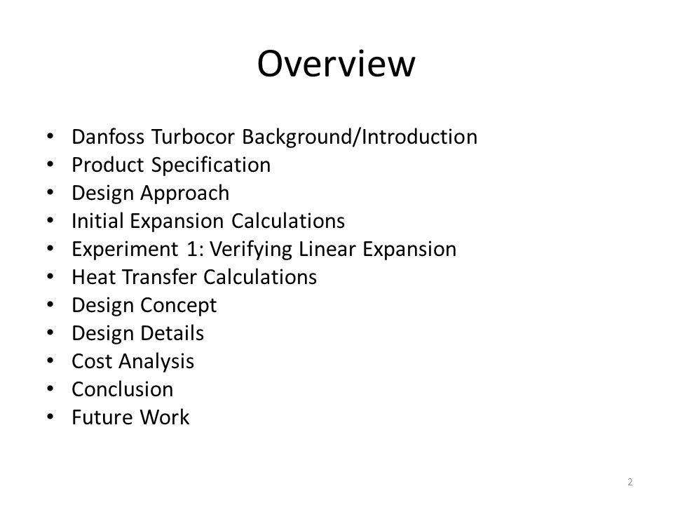 Overview Danfoss Turbocor Background/Introduction