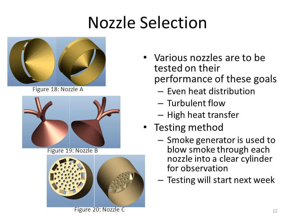 Nozzle Selection Various nozzles are to be tested on their performance of these goals. Even heat distribution.