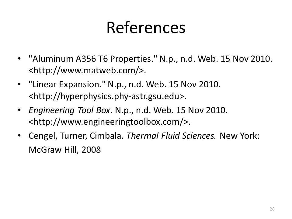 References Aluminum A356 T6 Properties. N.p., n.d. Web. 15 Nov 2010. <http://www.matweb.com/>.