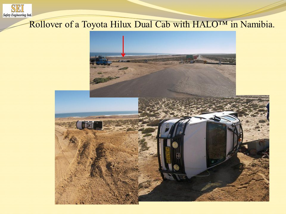 Rollover of a Toyota Hilux Dual Cab with HALO™ in Namibia.