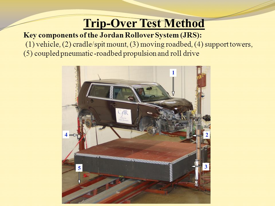 Trip-Over Test Method Key components of the Jordan Rollover System (JRS):