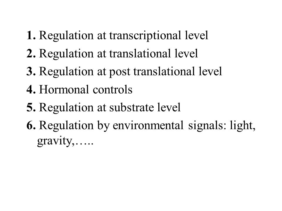 1. Regulation at transcriptional level