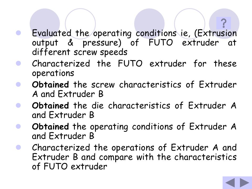 Characterized the FUTO extruder for these operations