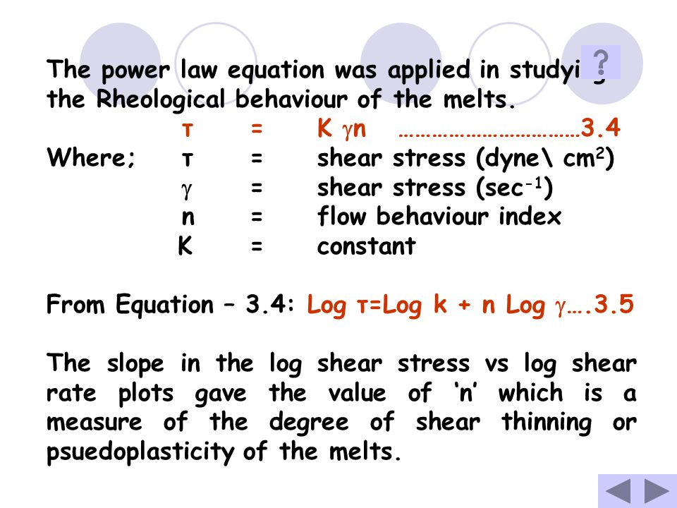 The power law equation was applied in studying the Rheological behaviour of the melts.
