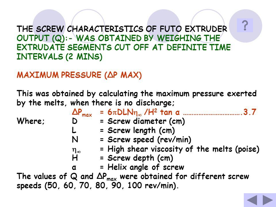 THE SCREW CHARACTERISTICS OF FUTO EXTRUDER