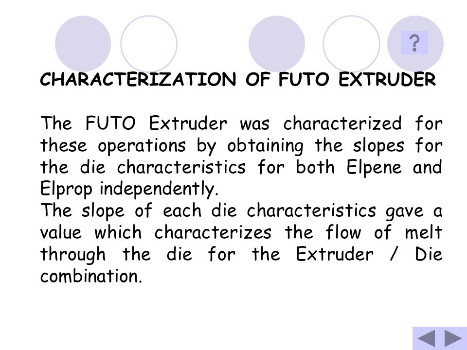 CHARACTERIZATION OF FUTO EXTRUDER