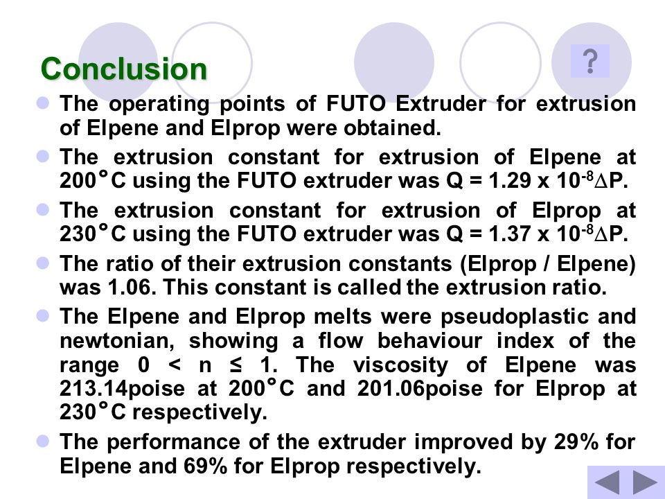 Conclusion The operating points of FUTO Extruder for extrusion of Elpene and Elprop were obtained.