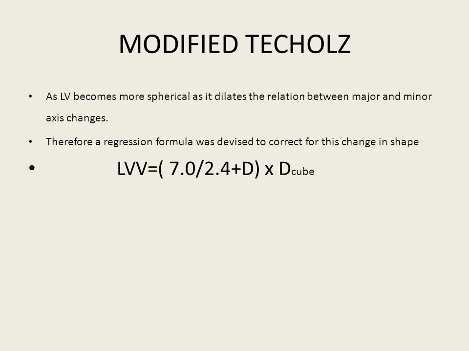 MODIFIED TECHOLZ LVV=( 7.0/2.4+D) x Dcube