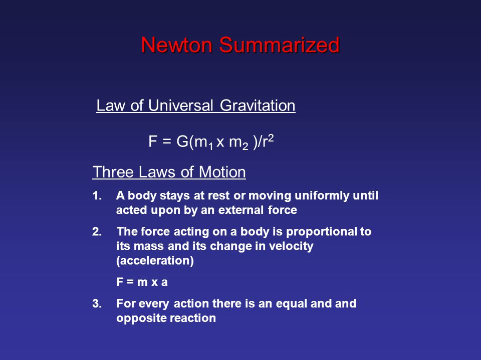 Newton Summarized Law of Universal Gravitation F = G(m1 x m2 )/r2