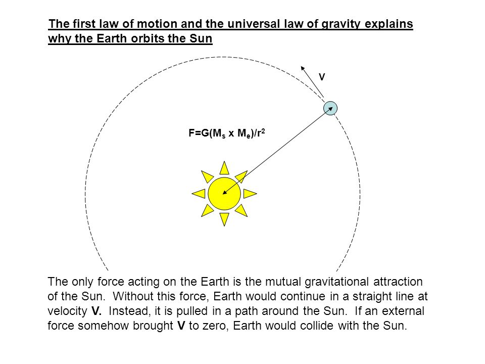 The first law of motion and the universal law of gravity explains why the Earth orbits the Sun