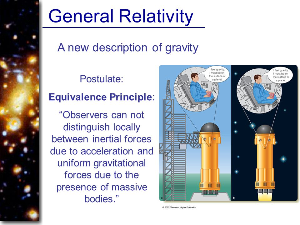 General Relativity A new description of gravity Postulate: