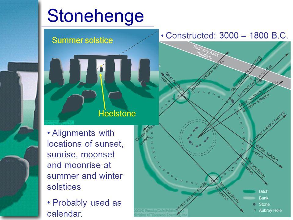Stonehenge Constructed: 3000 – 1800 B.C. Summer solstice. Heelstone.