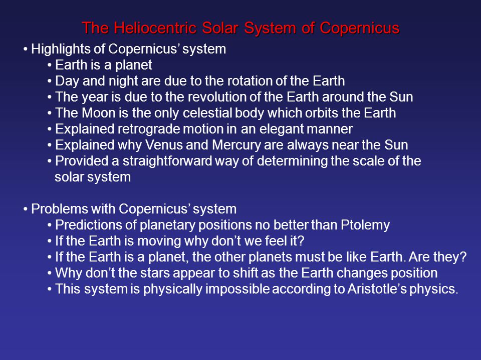 The Heliocentric Solar System of Copernicus