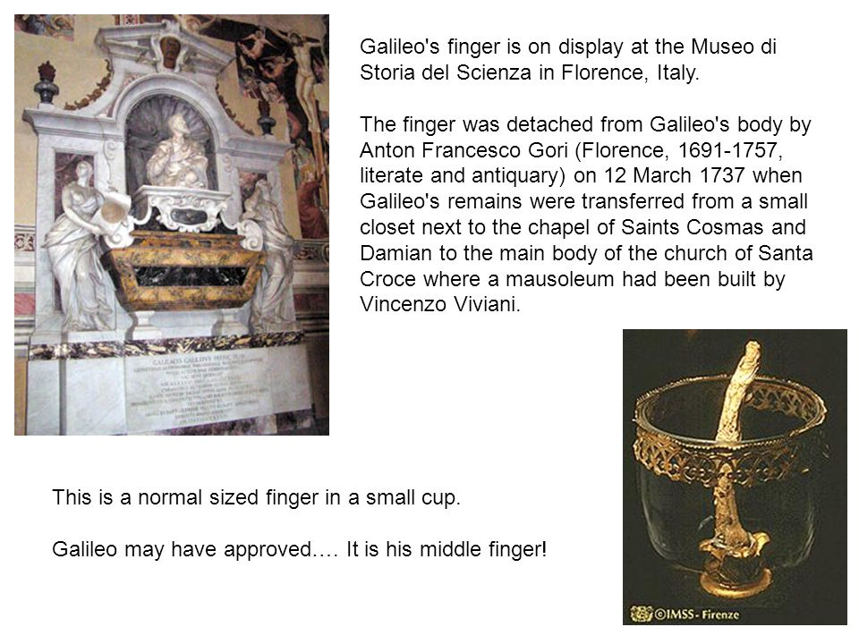 Galileo s finger is on display at the Museo di Storia del Scienza in Florence, Italy.