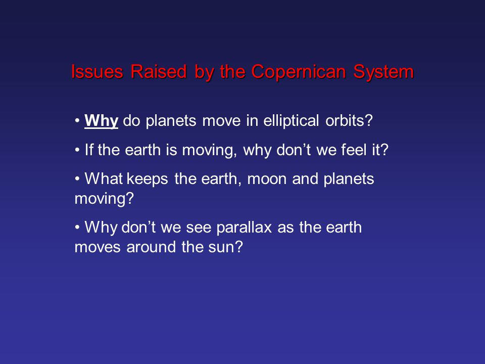 Issues Raised by the Copernican System